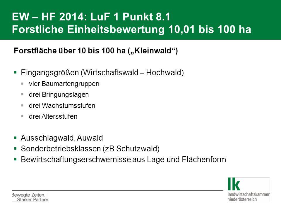 """EW – HF 2014: LuF 1 Punkt 8.1 Forstliche Einheitsbewertung 10,01 bis 100 ha  Forstfläche über 10 bis 100 ha (""""Kleinwald"""")  Eingangsgrößen (Wirtschaf"""
