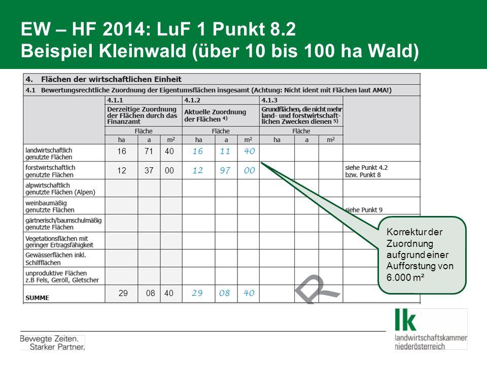 EW – HF 2014: LuF 1 Punkt 8.2 Beispiel Kleinwald (über 10 bis 100 ha Wald) 12 37 00 12 97 00 16 71 40 16 11 40 29 08 40 29 08 40 Korrektur der Zuordnu