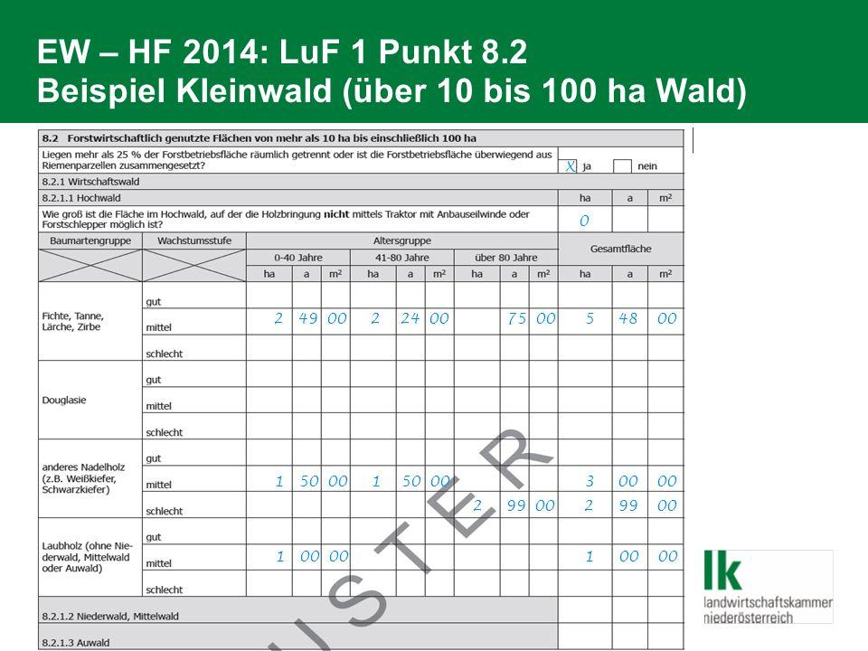 EW – HF 2014: LuF 1 Punkt 8.2 Beispiel Kleinwald (über 10 bis 100 ha Wald) 2 49 00 2 24 00 75 00 5 48 00 1 50 00 1 50 00 3 00 00 1 00 00 1 00 00 2 99