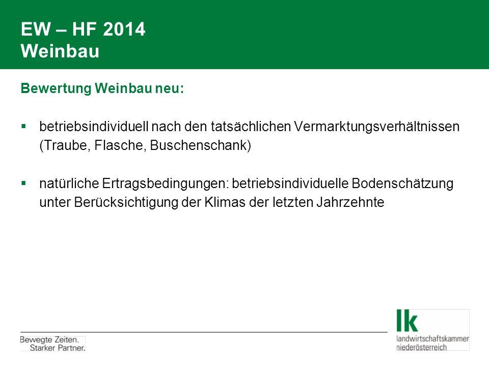 EW – HF 2014 Weinbau Bewertung Weinbau neu:  betriebsindividuell nach den tatsächlichen Vermarktungsverhältnissen (Traube, Flasche, Buschenschank) 
