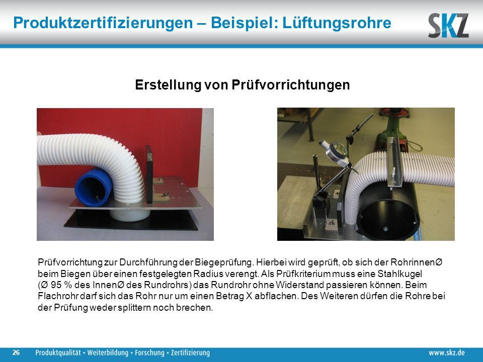 26 Erstellung von Prüfvorrichtungen Prüfvorrichtung zur Durchführung der Biegeprüfung.
