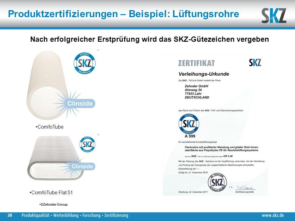 28 Nach erfolgreicher Erstprüfung wird das SKZ-Gütezeichen vergeben ©Zehnder Group ComfoTube ComfoTube Flat 51 Produktzertifizierungen – Beispiel: Lüftungsrohre