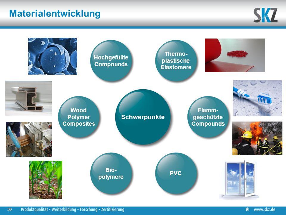 30 Materialentwicklung Flamm- geschützte Compounds Thermo- plastische Elastomere Hochgefüllte Compounds PVC Bio- polymere Wood Polymer Composites Schwerpunkte