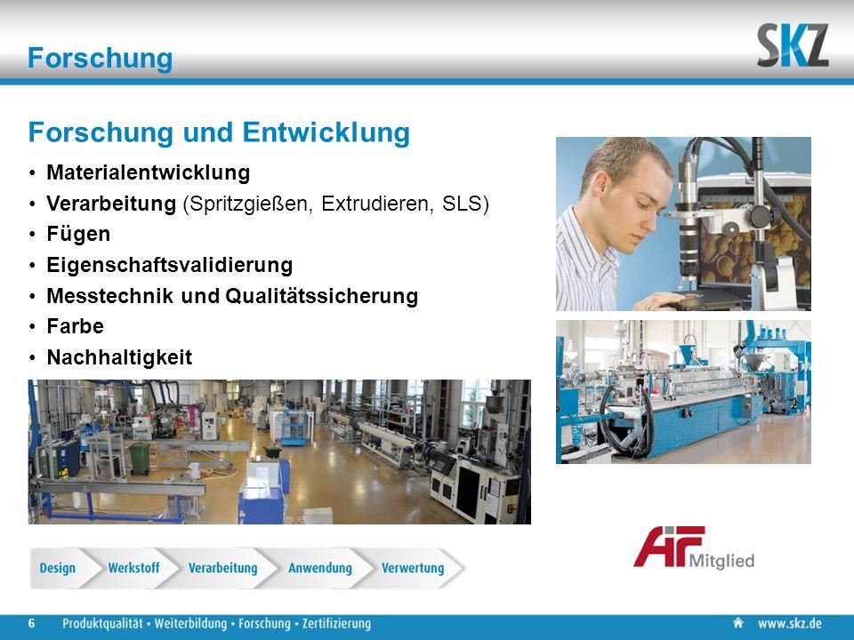 Forschung Materialentwicklung Verarbeitung (Spritzgießen, Extrudieren, SLS) Fügen Eigenschaftsvalidierung Messtechnik und Qualitätssicherung Farbe Nachhaltigkeit Forschung und Entwicklung 6