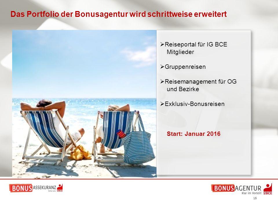 15  Reiseportal für IG BCE Mitglieder  Gruppenreisen  Reisemanagement für OG und Bezirke  Exklusiv-Bonusreisen Start: Januar 2016  Reiseportal fü