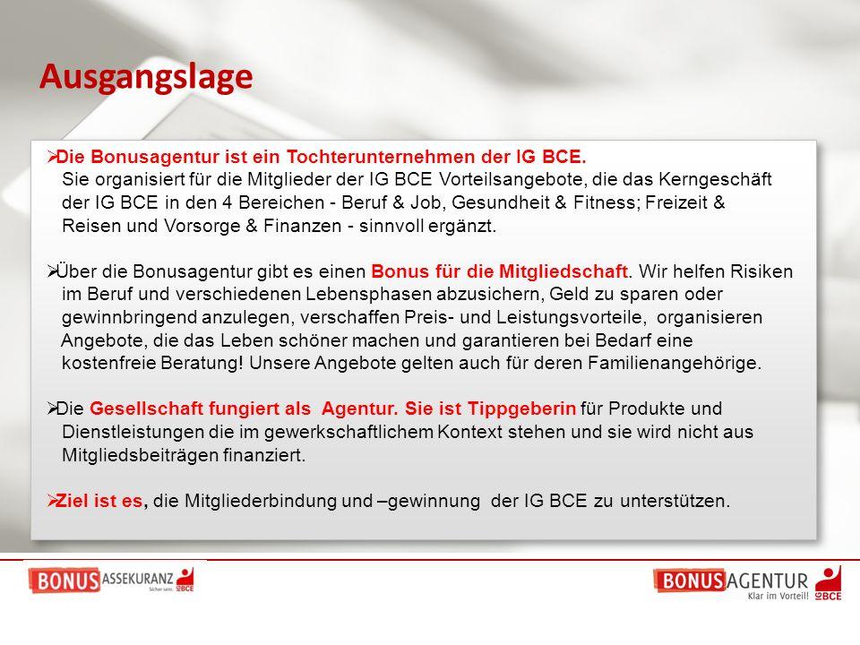 Ausgangslage  Die Bonusagentur ist ein Tochterunternehmen der IG BCE. Sie organisiert für die Mitglieder der IG BCE Vorteilsangebote, die das Kernges