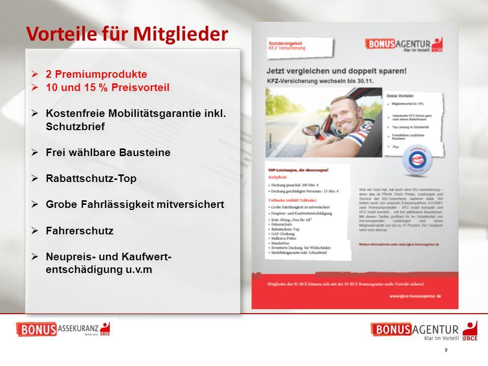  2 Premiumprodukte  10 und 15 % Preisvorteil  Kostenfreie Mobilitätsgarantie inkl. Schutzbrief  Frei wählbare Bausteine  Rabattschutz-Top  Grobe