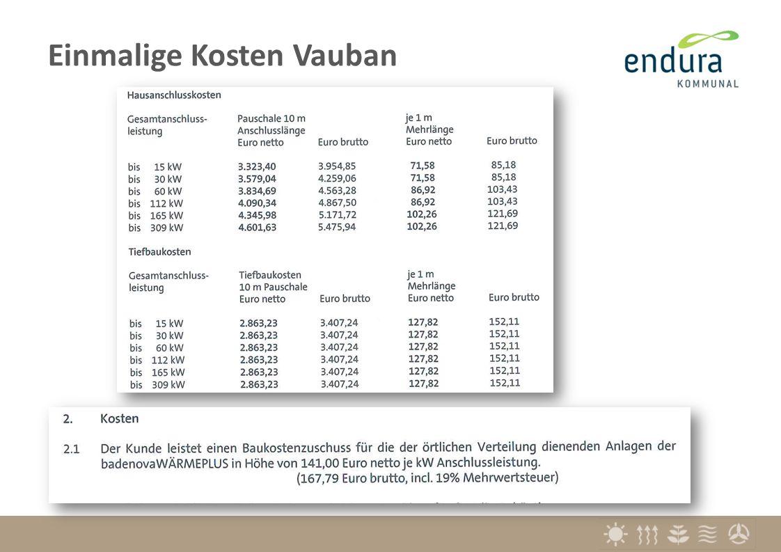 Vergleich (brutto) bisheriger Tarif 10 kW30 kW60 kW100 kW150 kW einmalig:Anschlusskostenin €7.49912.19816.92522.54229.563 jährlich: Grund- und Leistungspreis € pro Jahr6031.2281.7012.7314.019 nach Verbrauch:Arbeitspreis€/kWh0,0750 Nahwärmetarif Vauban 10 kW30 kW60 kW100 kW150 kW einmalig:Anschlusskostenin €13.205 17.817 24.46433.14643.862 inkl.