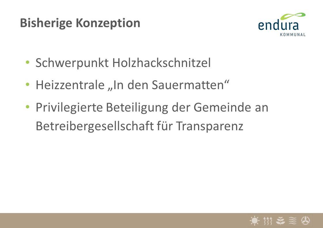 """Schwerpunkt Holzhackschnitzel Heizzentrale """"In den Sauermatten Privilegierte Beteiligung der Gemeinde an Betreibergesellschaft für Transparenz Bisherige Konzeption"""
