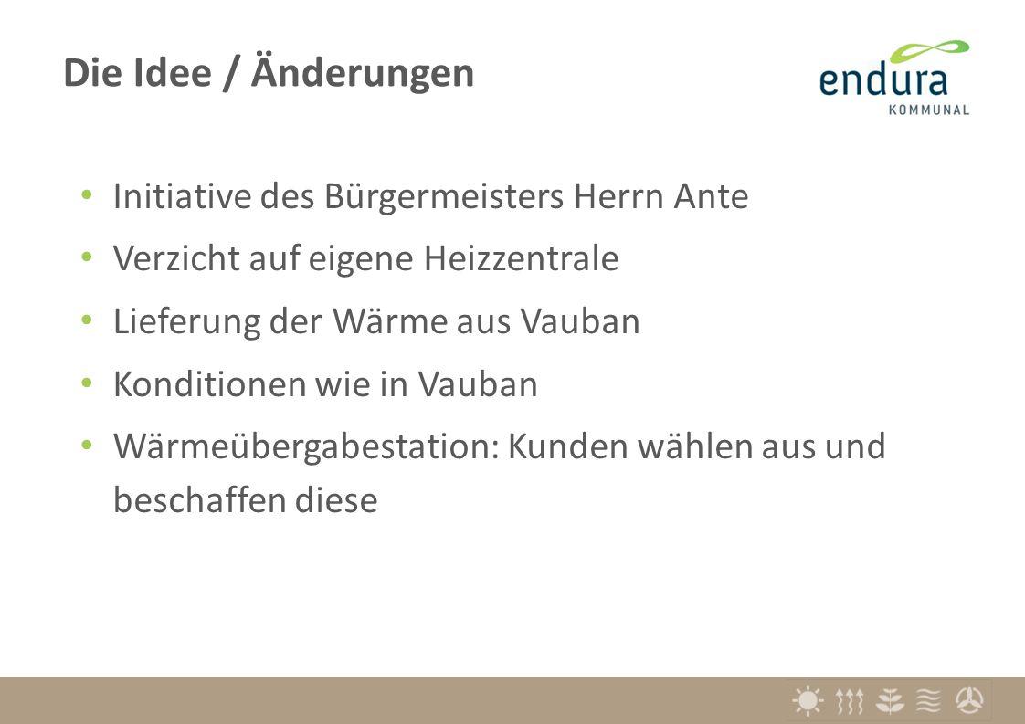 Initiative des Bürgermeisters Herrn Ante Verzicht auf eigene Heizzentrale Lieferung der Wärme aus Vauban Konditionen wie in Vauban Wärmeübergabestation: Kunden wählen aus und beschaffen diese Die Idee / Änderungen