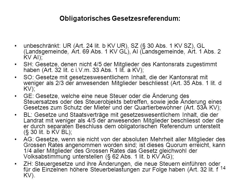 14 Obligatorisches Gesetzesreferendum: unbeschränkt: UR (Art.