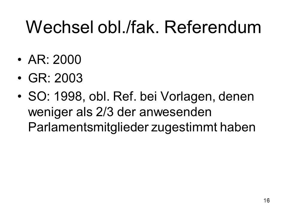 16 Wechsel obl./fak. Referendum AR: 2000 GR: 2003 SO: 1998, obl.