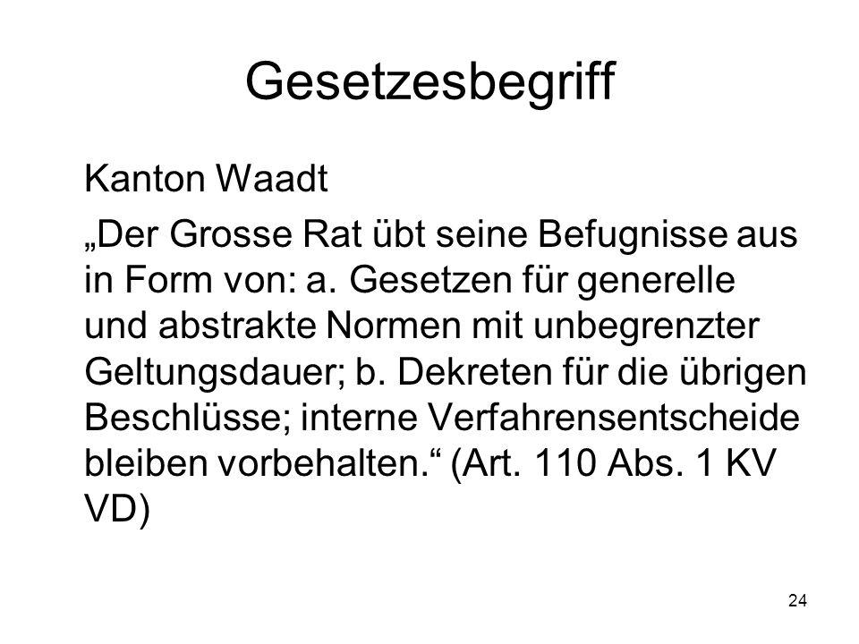 """24 Gesetzesbegriff Kanton Waadt """"Der Grosse Rat übt seine Befugnisse aus in Form von: a."""
