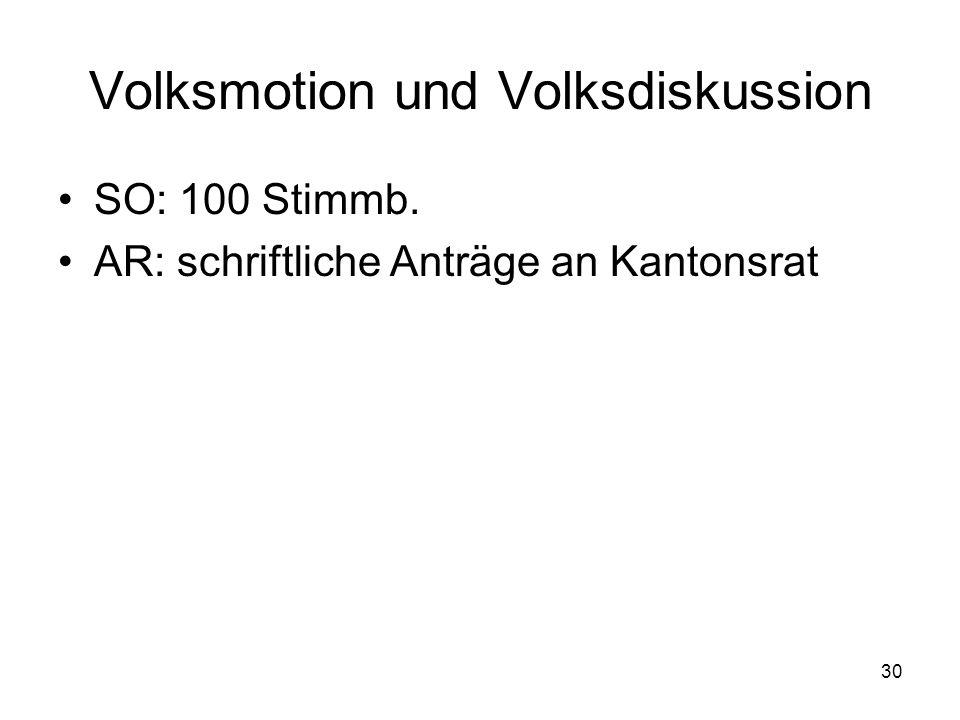 30 Volksmotion und Volksdiskussion SO: 100 Stimmb. AR: schriftliche Anträge an Kantonsrat