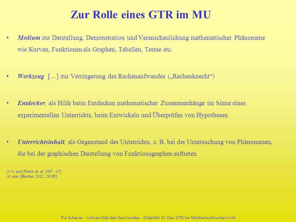 Zur Rolle eines GTR im MU Medium zur Darstellung, Demonstration und Veranschaulichung mathematischer Phänomene wie Kurven, Funktionen als Graphen, Tabellen, Terme etc.