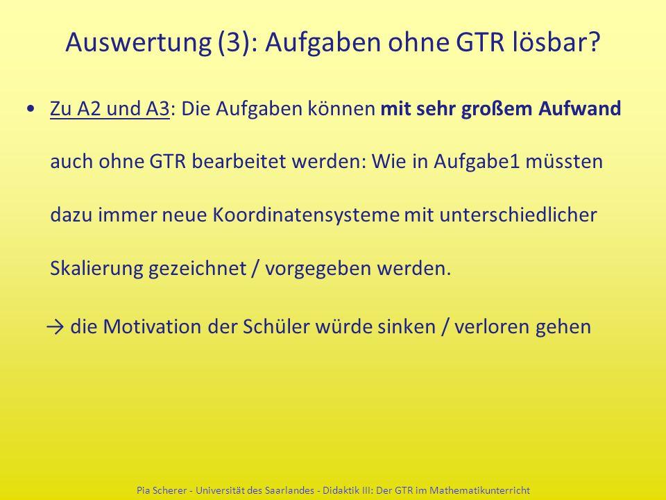Auswertung (3): Aufgaben ohne GTR lösbar? Zu A2 und A3: Die Aufgaben können mit sehr großem Aufwand auch ohne GTR bearbeitet werden: Wie in Aufgabe1 m