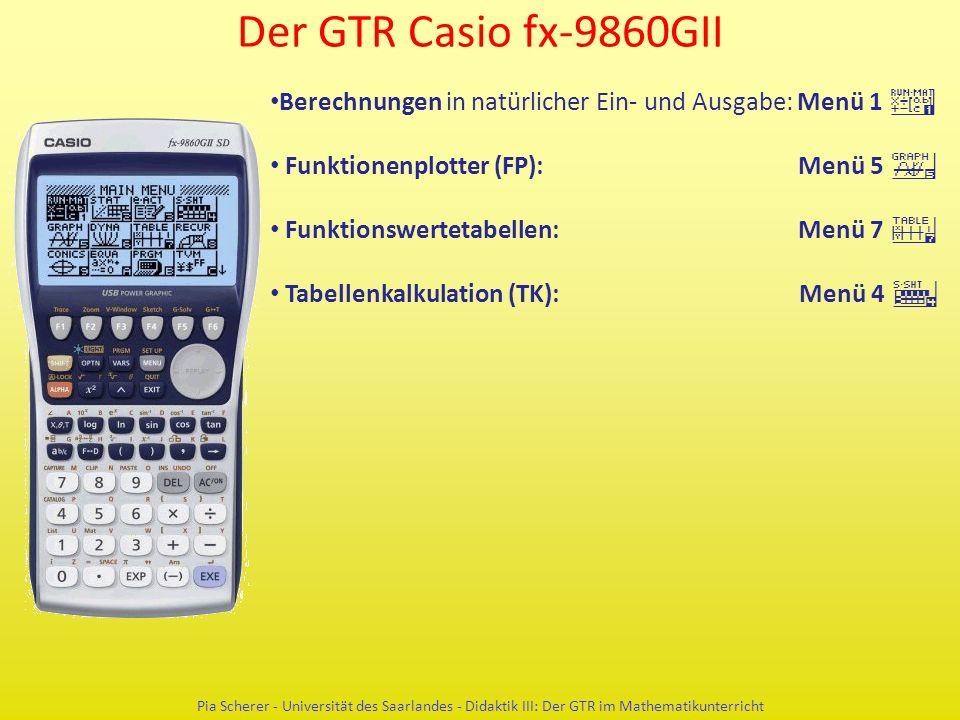 Der GTR Casio fx-9860GII Pia Scherer - Universität des Saarlandes - Didaktik III: Der GTR im Mathematikunterricht Berechnungen in natürlicher Ein- und Ausgabe: Menü 1 q Funktionenplotter (FP): Menü 5 y Funktionswertetabellen: Menü 7 i Tabellenkalkulation (TK): Menü 4 r