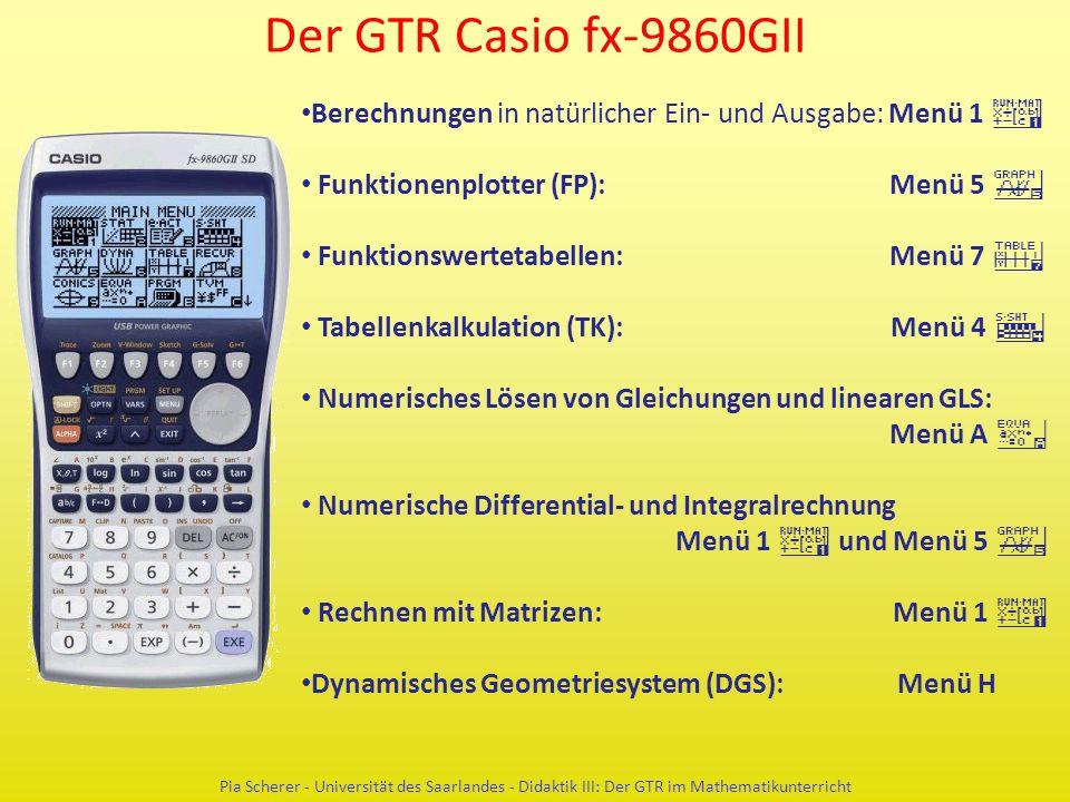 Der GTR Casio fx-9860GII Pia Scherer - Universität des Saarlandes - Didaktik III: Der GTR im Mathematikunterricht Berechnungen in natürlicher Ein- und Ausgabe: Menü 1 q Funktionenplotter (FP): Menü 5 y Funktionswertetabellen: Menü 7 i Tabellenkalkulation (TK): Menü 4 r Numerisches Lösen von Gleichungen und linearen GLS: Menü A a Numerische Differential- und Integralrechnung Menü 1 q und Menü 5 y Rechnen mit Matrizen: Menü 1 q Dynamisches Geometriesystem (DGS): Menü H