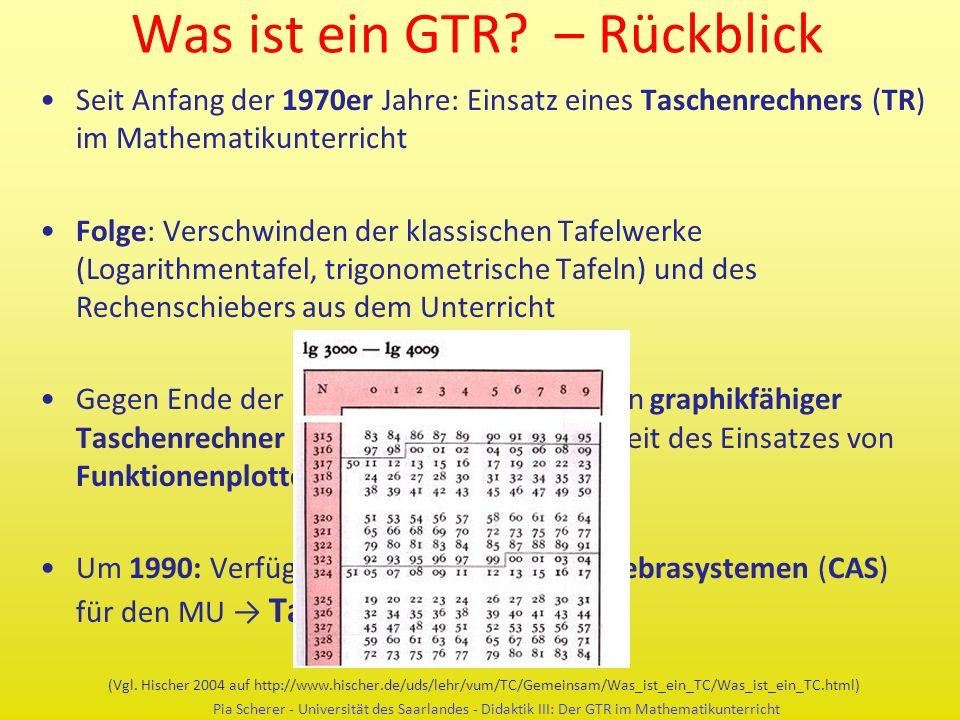 Was ist ein GTR? – Rückblick Seit Anfang der 1970er Jahre: Einsatz eines Taschenrechners (TR) im Mathematikunterricht Folge: Verschwinden der klassisc