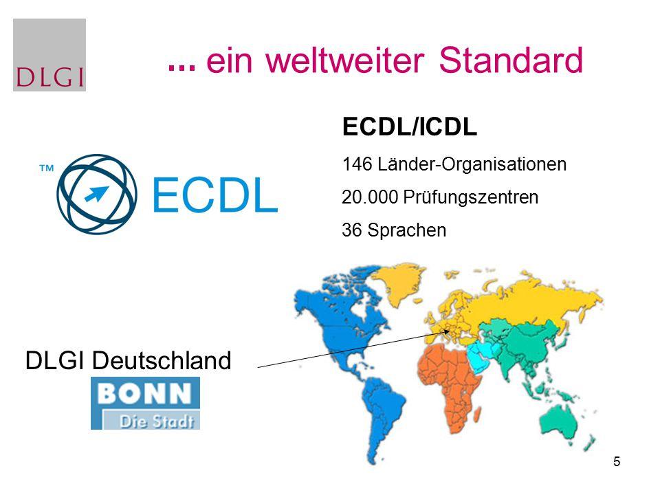 5 ein weltweiter Standard ECDL/ICDL 146 Länder-Organisationen 20.000 Prüfungszentren 36 Sprachen DLGI Deutschland