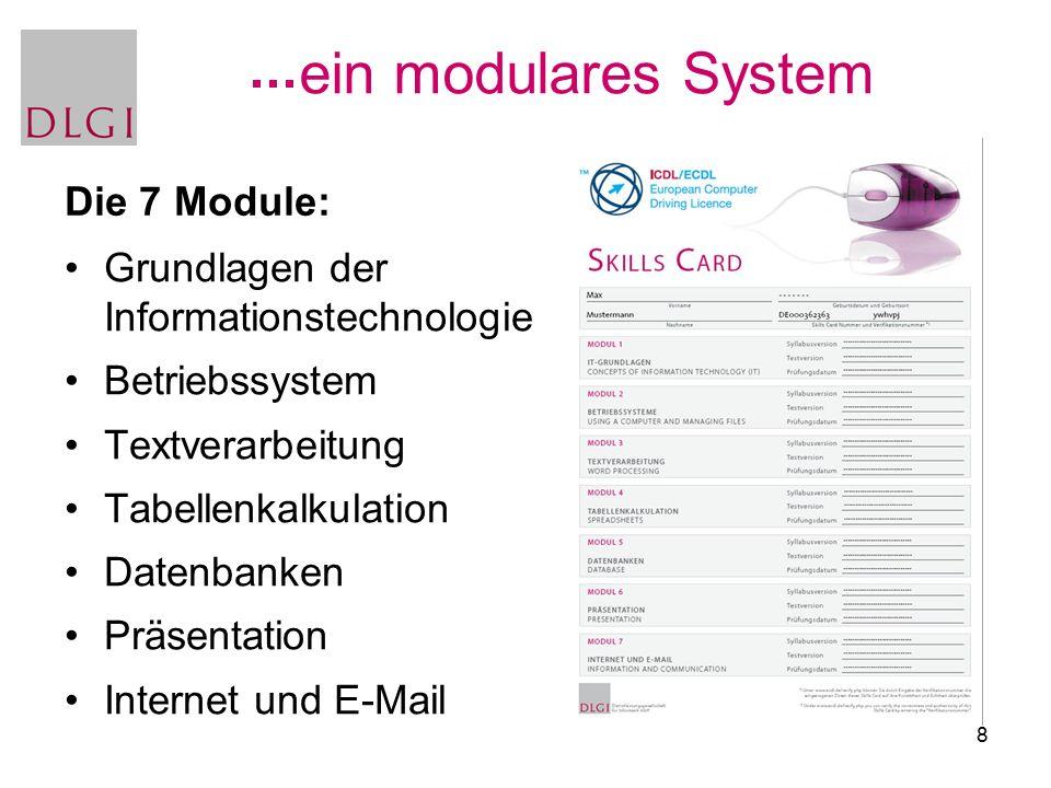 8 ein modulares System Grundlagen der Informationstechnologie Betriebssystem Textverarbeitung Tabellenkalkulation Datenbanken Präsentation Internet und E-Mail Die 7 Module: