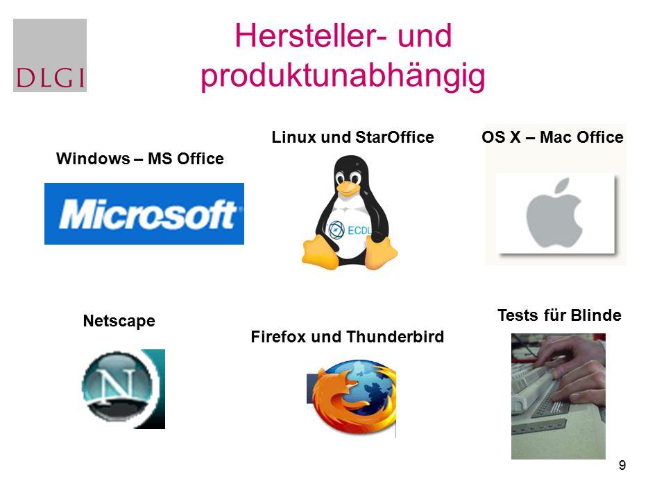 9 Hersteller- und produktunabhängig Firefox und Thunderbird Tests für Blinde Netscape OS X – Mac OfficeLinux und StarOffice Windows – MS Office