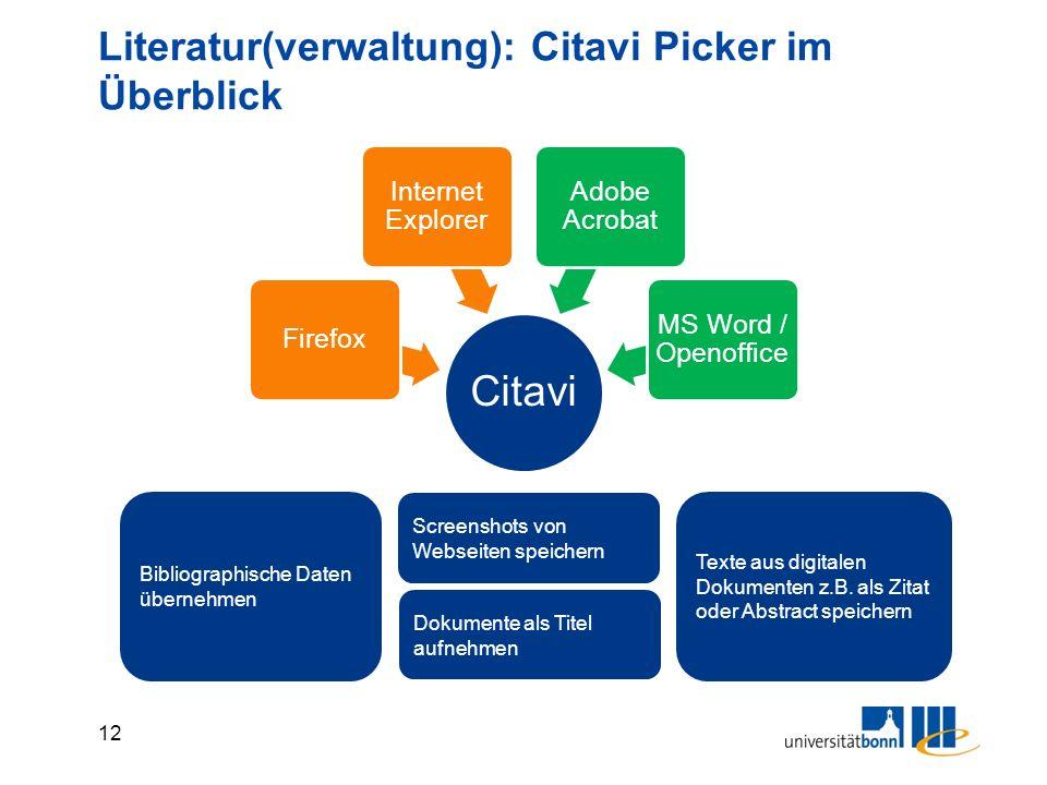 12 Literatur(verwaltung): Citavi Picker im Überblick Bibliographische Daten übernehmen Texte aus digitalen Dokumenten z.B. als Zitat oder Abstract spe