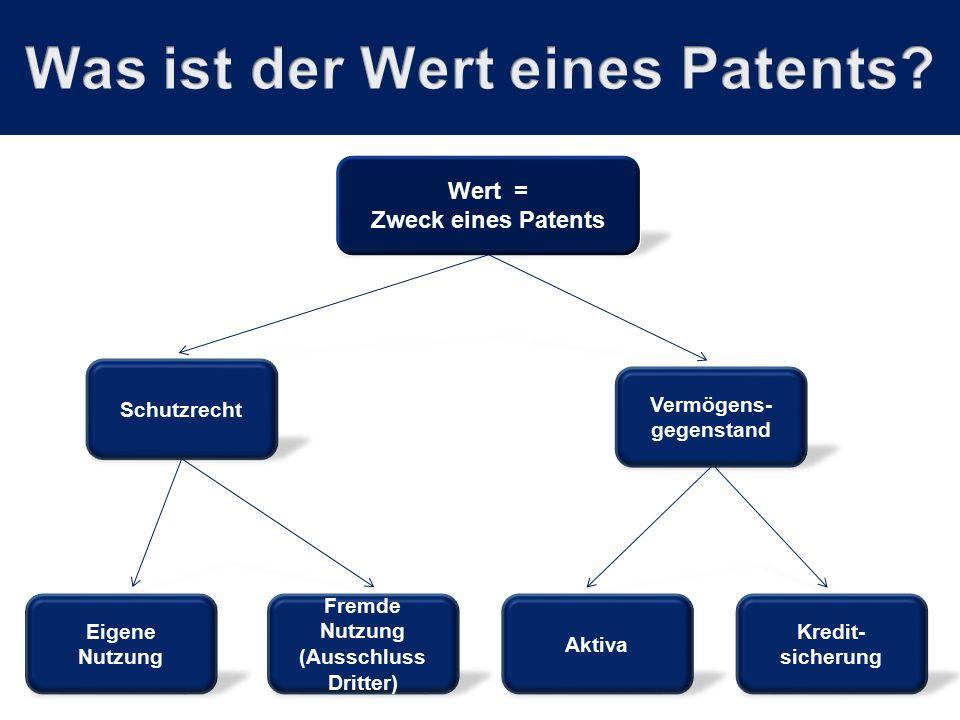 Wert = Zweck eines Patents Schutzrecht Vermögens- gegenstand Aktiva Kredit- sicherung Eigene Nutzung Fremde Nutzung (Ausschluss Dritter)