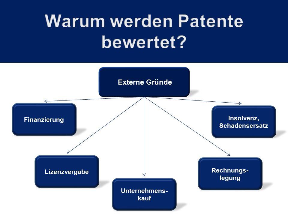 Finanzierung Externe Gründe Rechnungs- legung Lizenzvergabe Unternehmens- kauf Insolvenz, Schadensersatz
