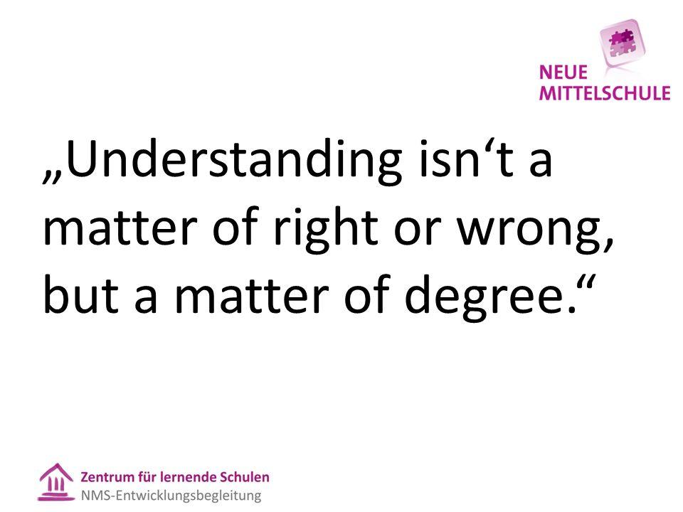 """Understanding isn't a matter of right or wrong, but a matter of degree."