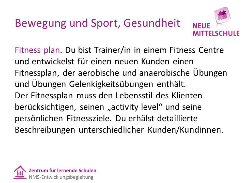 Bewegung und Sport, Gesundheit Fitness plan.