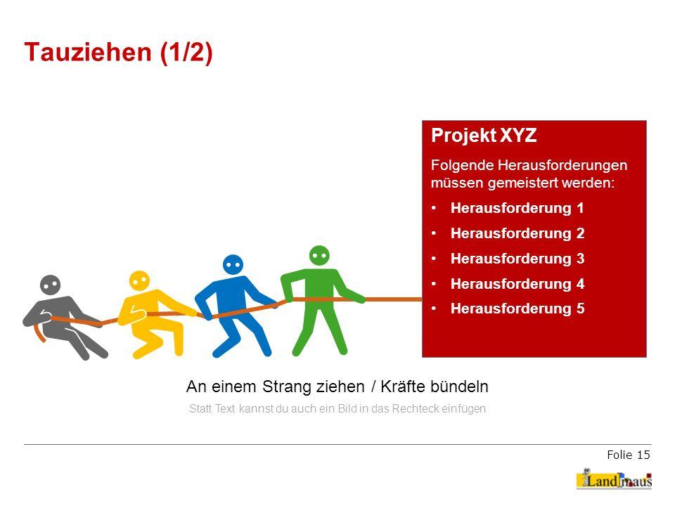 Folie 15 Tauziehen (1/2) Projekt XYZ Folgende Herausforderungen müssen gemeistert werden: Herausforderung 1 Herausforderung 2 Herausforderung 3 Heraus