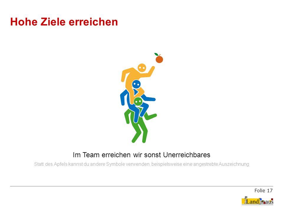 Folie 17 Hohe Ziele erreichen Im Team erreichen wir sonst Unerreichbares Statt des Apfels kannst du andere Symbole verwenden, beispielsweise eine ange
