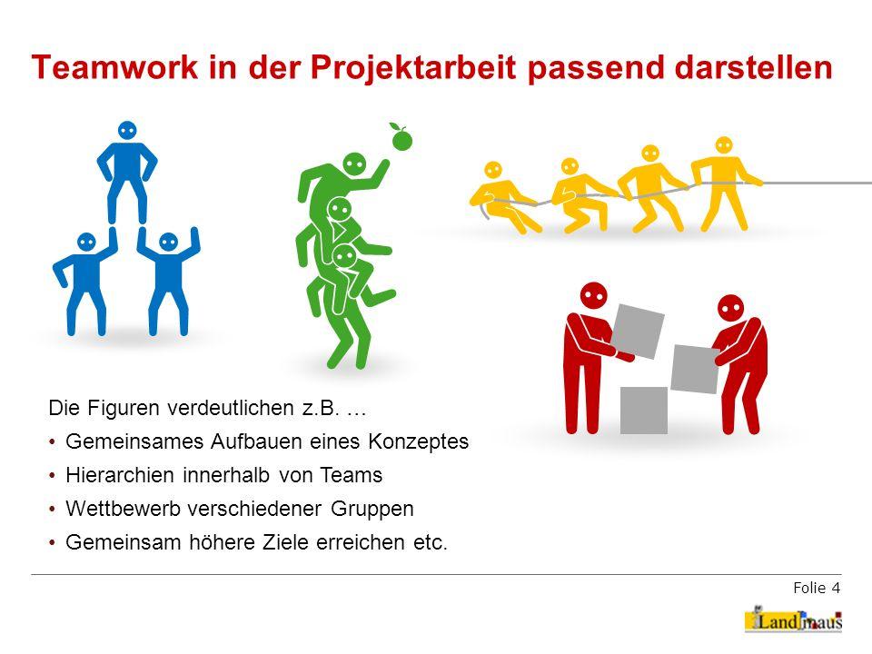 Folie 4 Teamwork in der Projektarbeit passend darstellen Die Figuren verdeutlichen z.B. … Gemeinsames Aufbauen eines Konzeptes Hierarchien innerhalb v