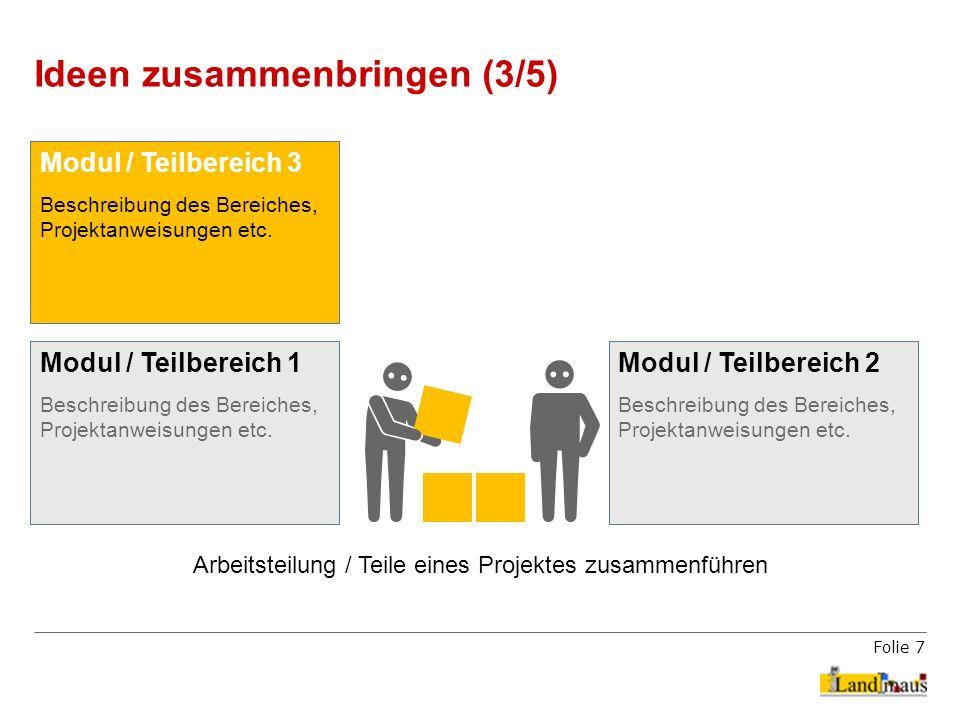 Folie 7 Ideen zusammenbringen (3/5) Arbeitsteilung / Teile eines Projektes zusammenführen Modul / Teilbereich 1 Beschreibung des Bereiches, Projektanw