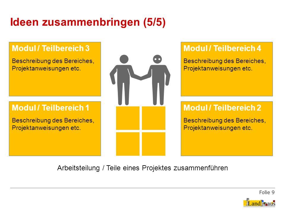 Folie 9 Ideen zusammenbringen (5/5) Arbeitsteilung / Teile eines Projektes zusammenführen Modul / Teilbereich 2 Beschreibung des Bereiches, Projektanw