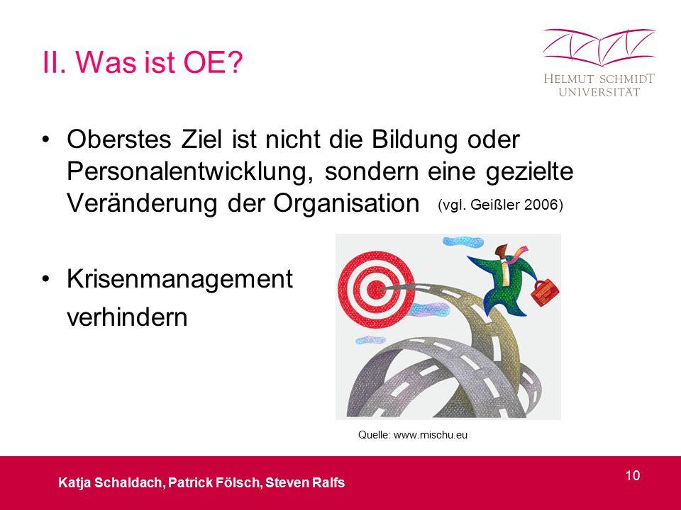 Oberstes Ziel ist nicht die Bildung oder Personalentwicklung, sondern eine gezielte Veränderung der Organisation Krisenmanagement verhindern Katja Schaldach, Patrick Fölsch, Steven Ralfs 10 (vgl.