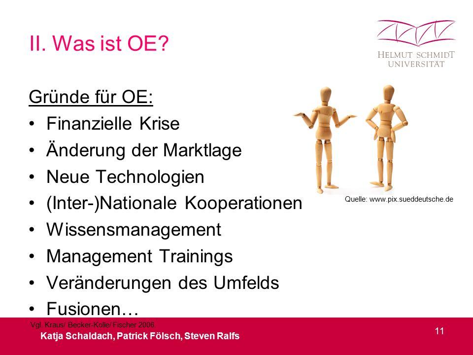 II. Was ist OE? Gründe für OE: Finanzielle Krise Änderung der Marktlage Neue Technologien (Inter-)Nationale Kooperationen Wissensmanagement Management