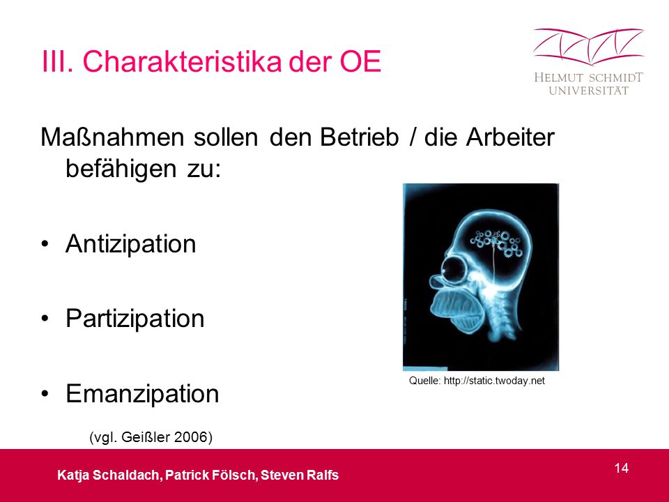III. Charakteristika der OE Maßnahmen sollen den Betrieb / die Arbeiter befähigen zu: Antizipation Partizipation Emanzipation Katja Schaldach, Patrick