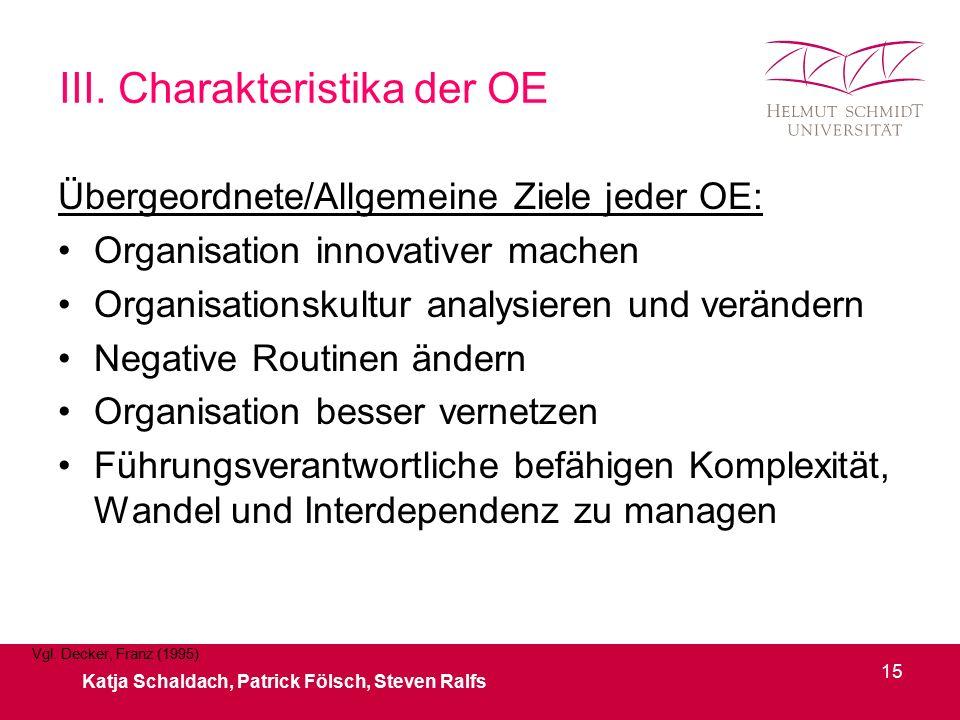 III. Charakteristika der OE Übergeordnete/Allgemeine Ziele jeder OE: Organisation innovativer machen Organisationskultur analysieren und verändern Neg