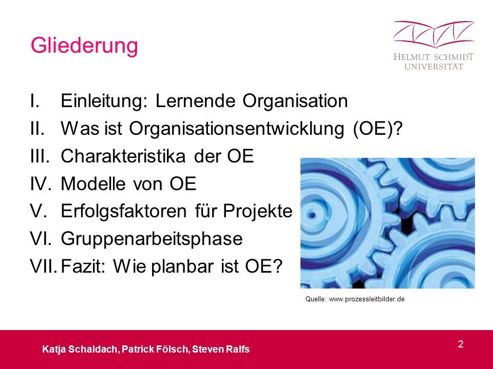 Gliederung I.Einleitung: Lernende Organisation II.Was ist Organisationsentwicklung (OE)? III.Charakteristika der OE IV.Modelle von OE V.Erfolgsfaktore