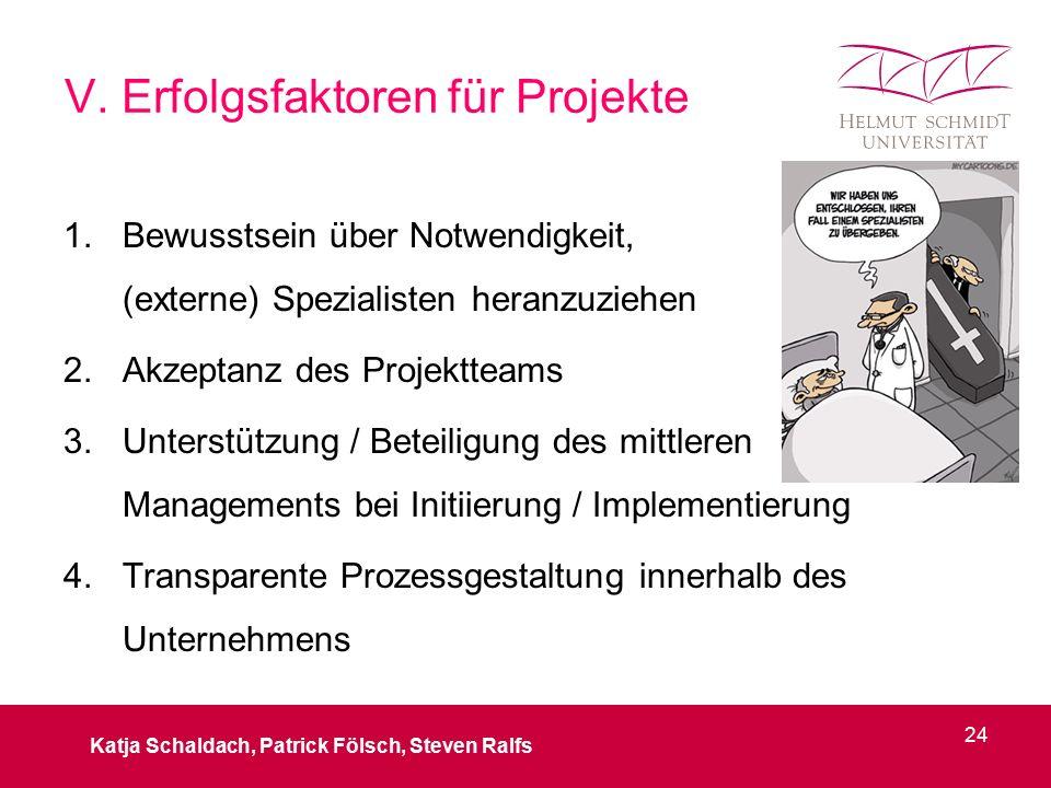 V. Erfolgsfaktoren für Projekte 1.Bewusstsein über Notwendigkeit, (externe) Spezialisten heranzuziehen 2.Akzeptanz des Projektteams 3.Unterstützung /