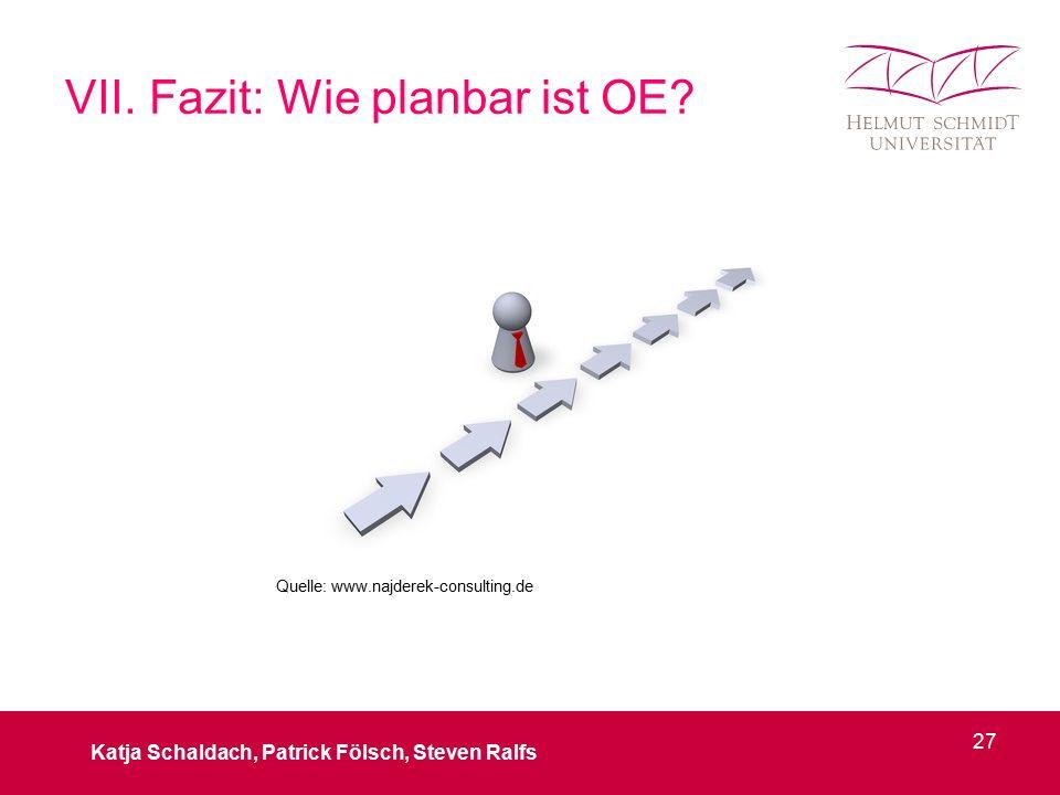 VII. Fazit: Wie planbar ist OE? Katja Schaldach, Patrick Fölsch, Steven Ralfs 27 Quelle: www.najderek-consulting.de