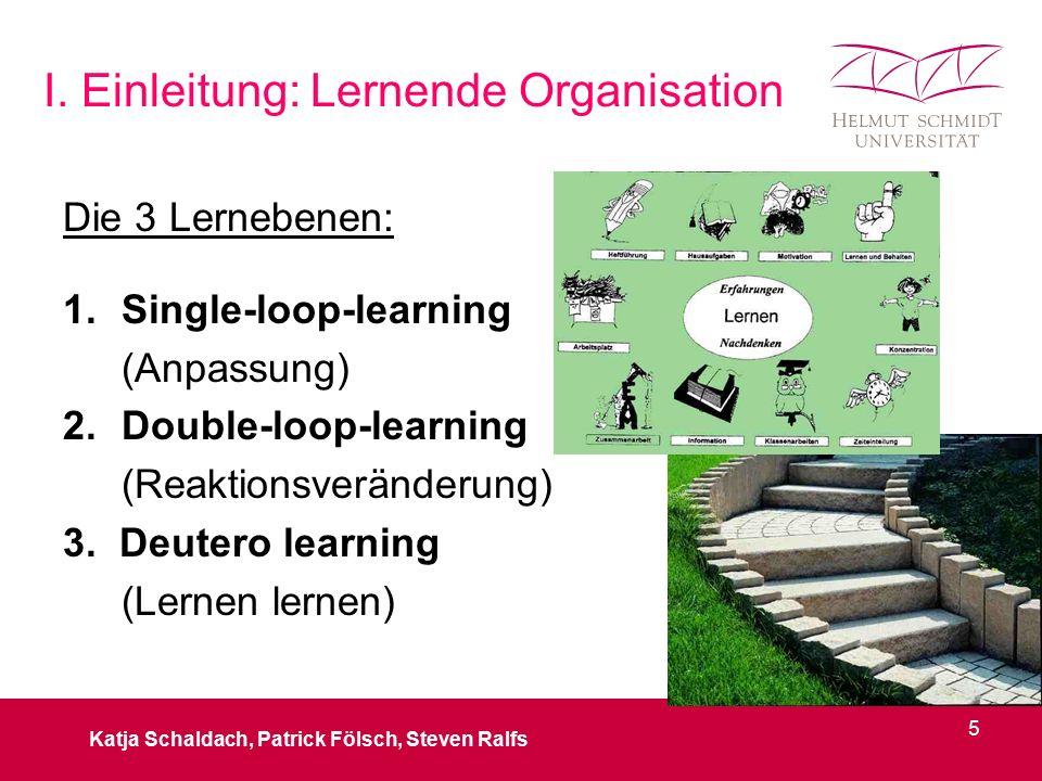 I. Einleitung: Lernende Organisation Die 3 Lernebenen: 1.Single-loop-learning (Anpassung) 2.Double-loop-learning (Reaktionsveränderung) 3. Deutero lea