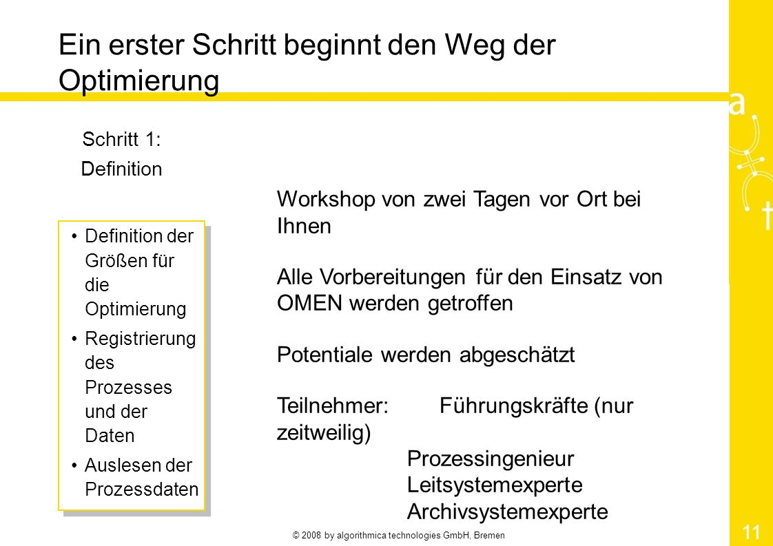 © 2008 by algorithmica technologies GmbH, Bremen 11 Ein erster Schritt beginnt den Weg der Optimierung Schritt 1: Definition Definition der Größen für