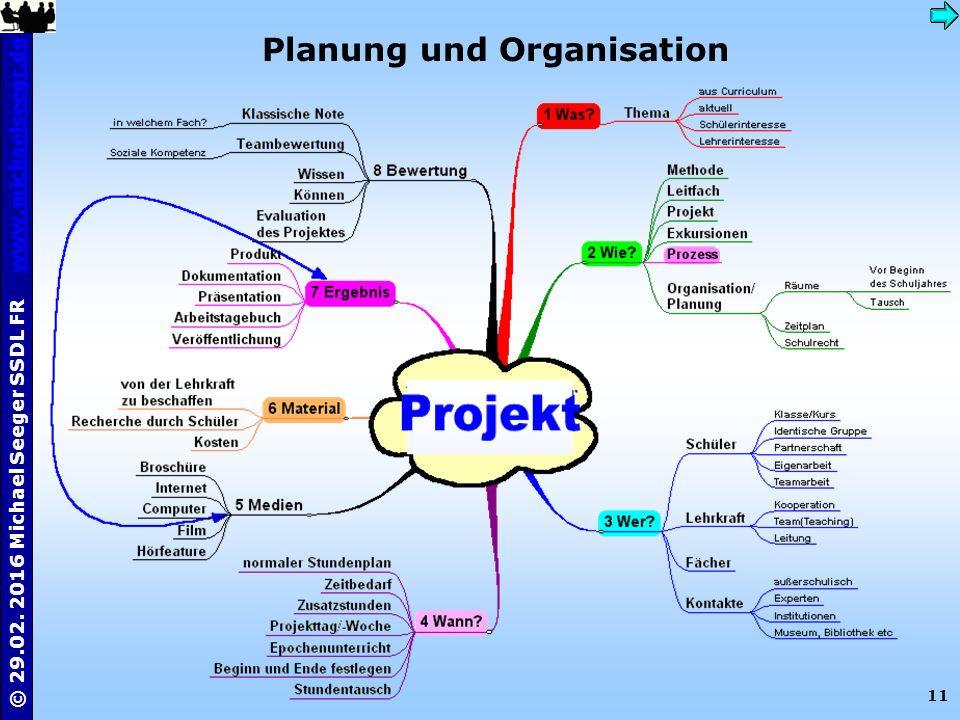 11 © 29.02. 2016 Michael Seeger SSDL FR www.michaelseegr.dewww.michaelseegr.de Planung und Organisation
