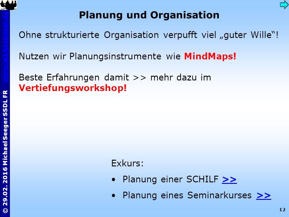 12 © 29.02. 2016 Michael Seeger SSDL FR www.michaelseegr.dewww.michaelseegr.de Planung und Organisation Ohne strukturierte Organisation verpufft viel