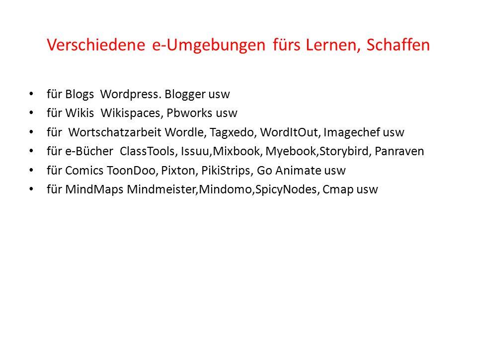 Verschiedene e-Umgebungen fürs Lernen, Schaffen für Blogs Wordpress.