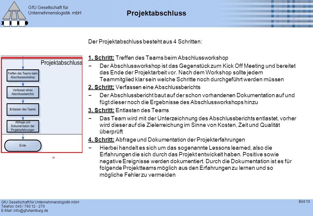 GfU Gesellschaft für Unternehmenslogistik mbH GfU Gesellschaft für Unternehmenslogistik mbH Telefon: 040 / 790 12 - 270 E-Mail: info@gfuhamburg.de Bild 10 Projektabschluss Der Projektabschluss besteht aus 4 Schritten: 1.
