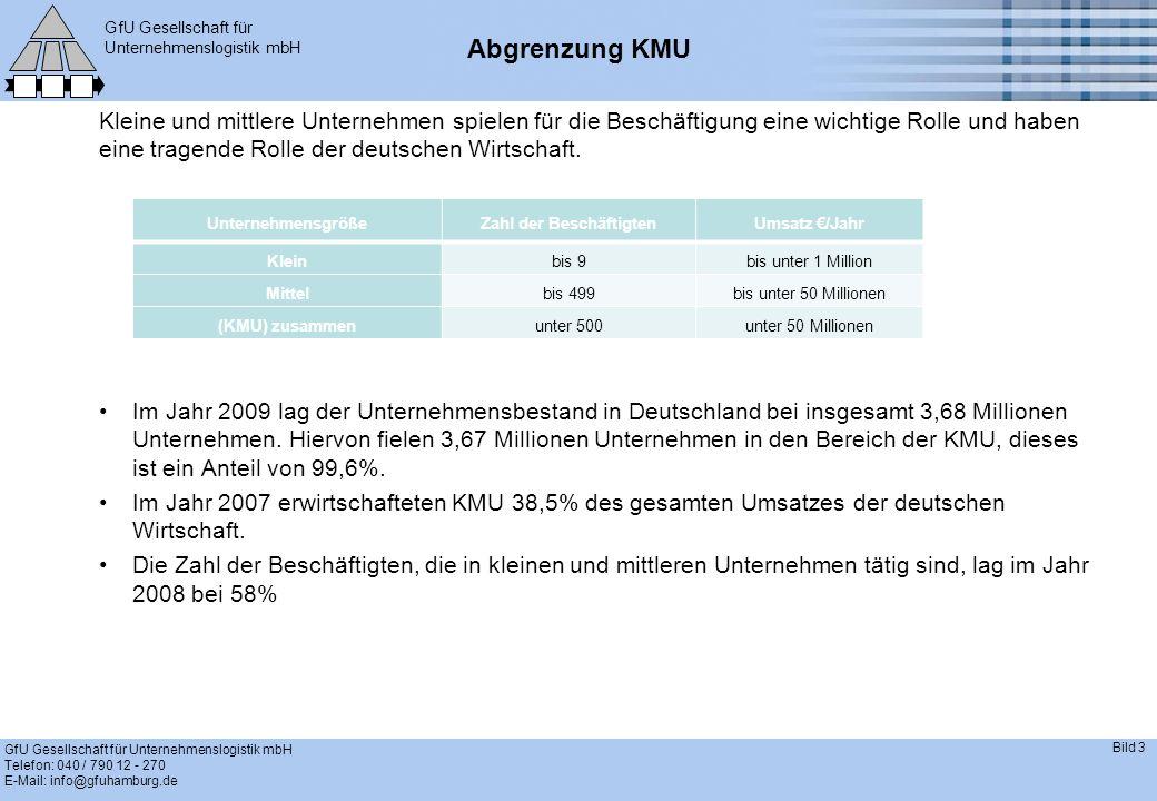 GfU Gesellschaft für Unternehmenslogistik mbH GfU Gesellschaft für Unternehmenslogistik mbH Telefon: 040 / 790 12 - 270 E-Mail: info@gfuhamburg.de Bild 3 Abgrenzung KMU Kleine und mittlere Unternehmen spielen für die Beschäftigung eine wichtige Rolle und haben eine tragende Rolle der deutschen Wirtschaft.